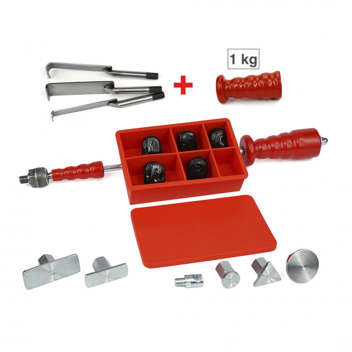 Ausbeulwerkzeug, Zughammer GROSS und Lang in einem mit Kaltkleber, Dellenwerkzeug